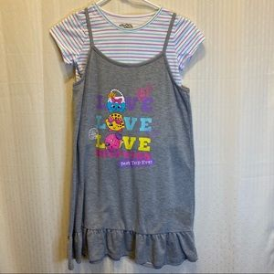 Shopkins tank top dress with pink and blue shirt